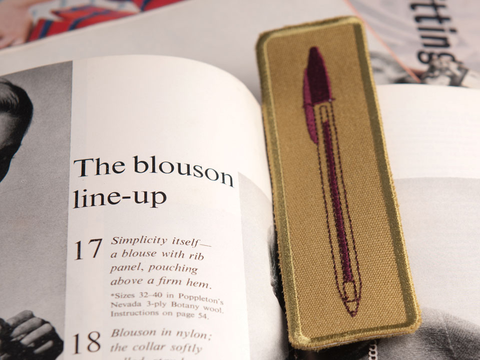 Biro Bookmark - maroon ink